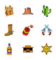 cowboy icons set cartoon style vector image vector image