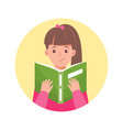 cute woman reading a book educational concept vector image vector image