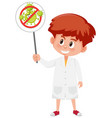 doctor wearing mask and holding stop coronavirus vector image vector image