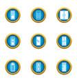 door aperture icons set flat style vector image vector image