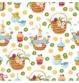 easter basket with flowers eggs and cake seamless vector image vector image