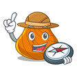 explorer hard shell mascot cartoon vector image vector image