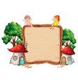 fairy on wooden banner vector image vector image