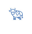 farm cow line icon concept farm cow flat vector image vector image