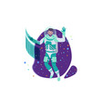 flat young man cosmonaut with beard and future vector image vector image