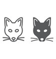 fox line and glyph icon animal and zoo mascot vector image vector image