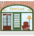 Furniture shop detailed design facade vector image vector image