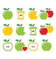 Green and yellow apple apple core bitten half vector image vector image