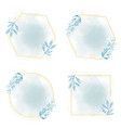 hand drawn blue leaf frame on watercolor blue vector image vector image