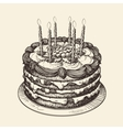 happy birthday cake with burning candles sketch vector image vector image