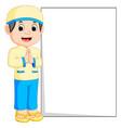 happy muslim boy cartoon holding blank sign vector image vector image