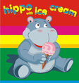 hippo wich ise cream grey vector image vector image