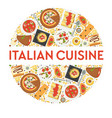italian cuisine menu food italy pizza and vector image vector image
