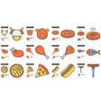 junk food line icon set vector image