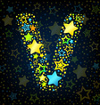 Letter V cartoon star colored vector image vector image