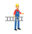 male construction worker character carrying a vector image vector image