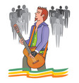 man playing the guitar vector image