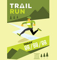 man with glasses jumping trail run vector image