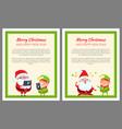 merry christmas elf and santa vector image vector image