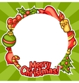 Merry Christmas invitation frame with holiday vector image vector image