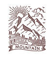mountain view line vector image