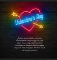 neon light valentines day card vector image