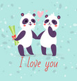 pandas couple in love banner greeting card vector image