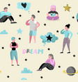people dreaming about something seamless pattern vector image vector image
