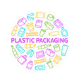 plastic packaging signs thin line round design vector image vector image