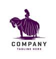 princess horse riding logo design template vector image