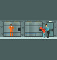 prison cell with prisoners policeman at work vector image