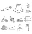 sawmill and timber outline icons in set collection vector image