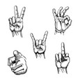 set hands sketches gestures vector image
