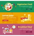 Set of flat design concepts for vegetarian food vector image vector image