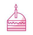 shadow cute cake slice cartoon vector image