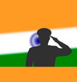 solder silhouette on blur background with india vector image vector image