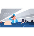 stewardess explaining for passengers how to use vector image vector image