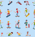 teenage skateboarding seamless pattern happy teens vector image vector image