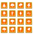 trees icons set orange vector image vector image
