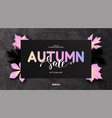 trendy autumn background with leaves and marble vector image