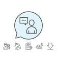 user communication line icon profile sign vector image vector image