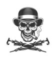 vintage monochrome skull in fedora hat vector image vector image