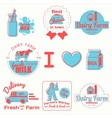 dairy badges color vector image