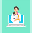 asian woman doctor online consultation concept vector image vector image