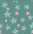 blue cartoon seamless pattern with cute starfish vector image vector image