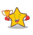 boxing winner star character cartoon style vector image