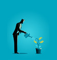 businessman watering young plant with dollar vector image vector image