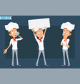 cartoon flat chef cook boy character set vector image vector image