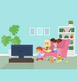 children watching tv flat vector image