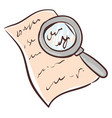 clipart a paper with writings enlarged a vector image vector image